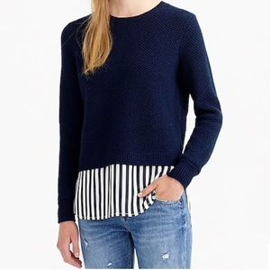 J Crew Lambswool Stripe Shirttail Sweater